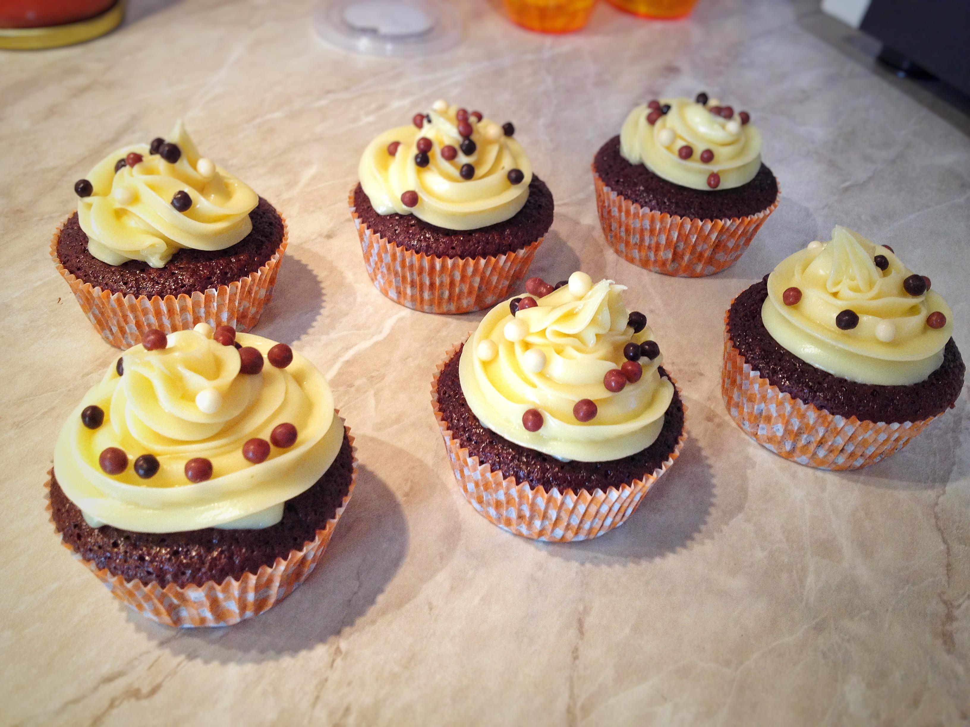 Cupcakes con ganache al cioccolato bianco